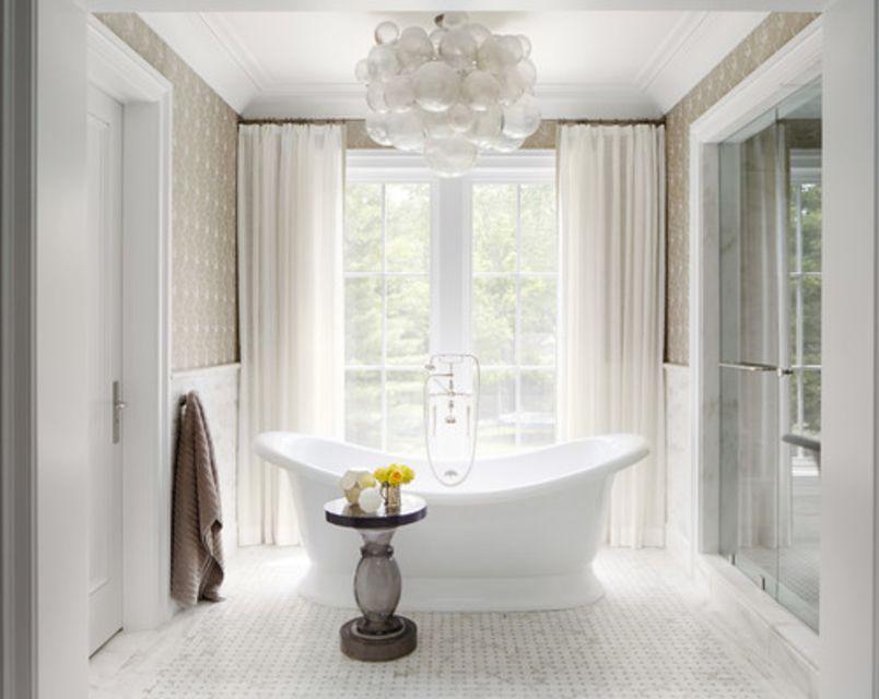 White Bathroom With Balloon Light Fixture