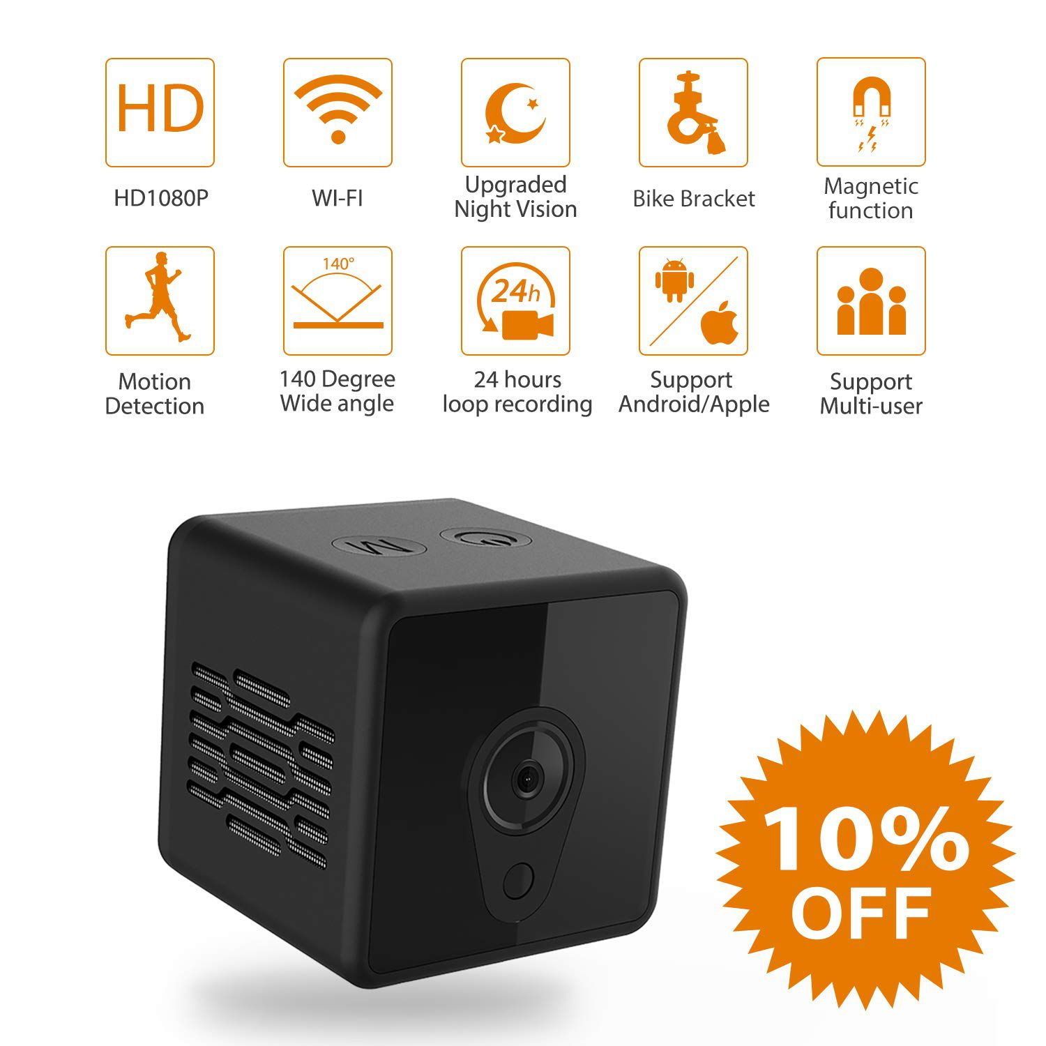 Mini Spy Camera WiFi, Jayol 1080P Spy Hidden Camera Upgraded Night Vision