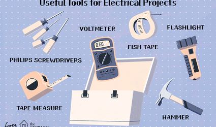 Illustration of tools for electrical projects