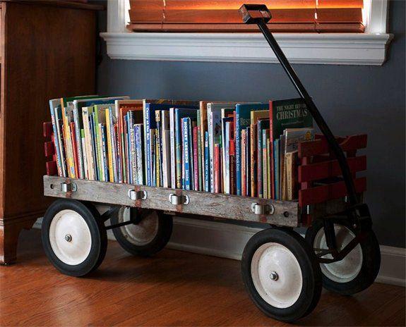 Vintage wagon repurposed as book cart/shelf