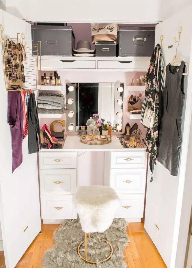 closet converted to vanity area