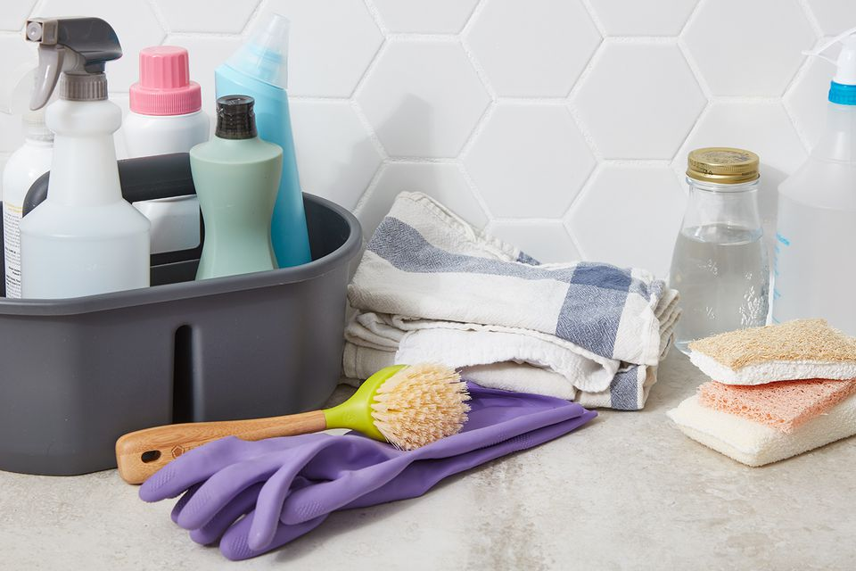 a variety of cleaning products and supplies