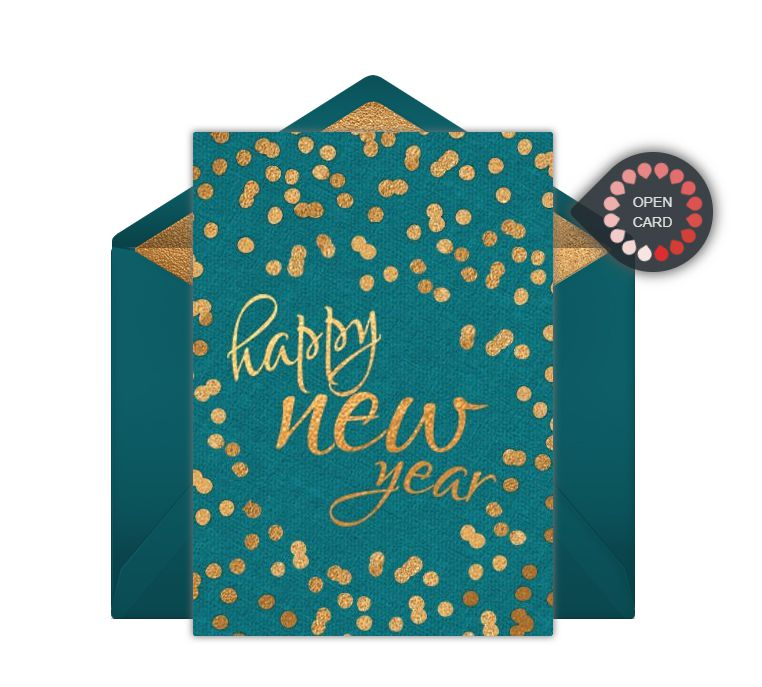 A teal and gold Happy New Year online card