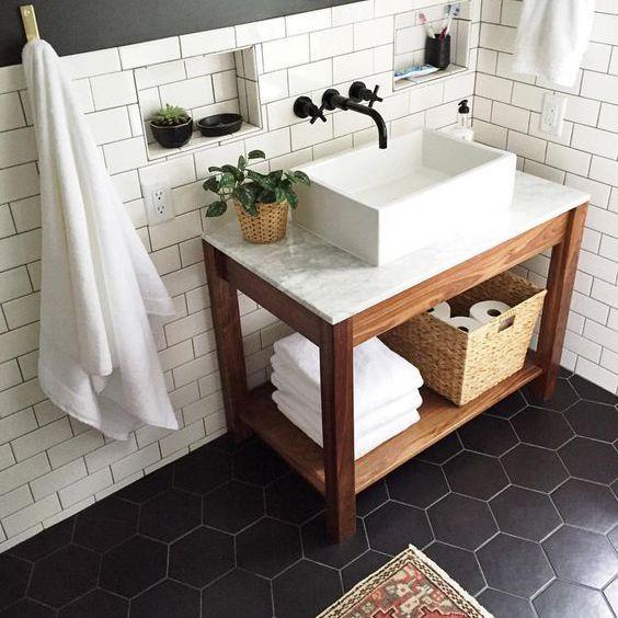 black and white bathroom marble vanity