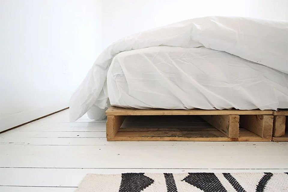 A close-up of a pallet bed