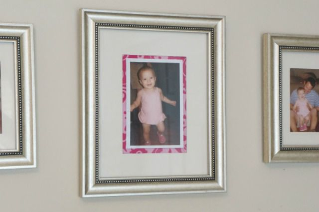 Enlarged photo mat with fabric