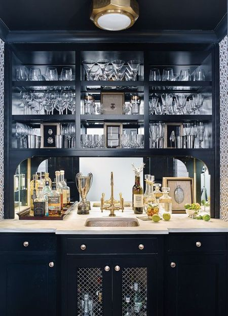 Black And Gold Home Bar