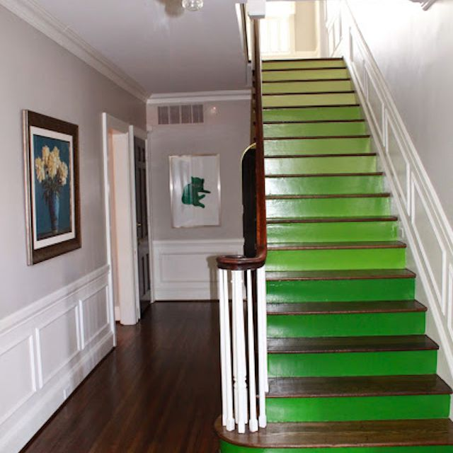 bright green staircase