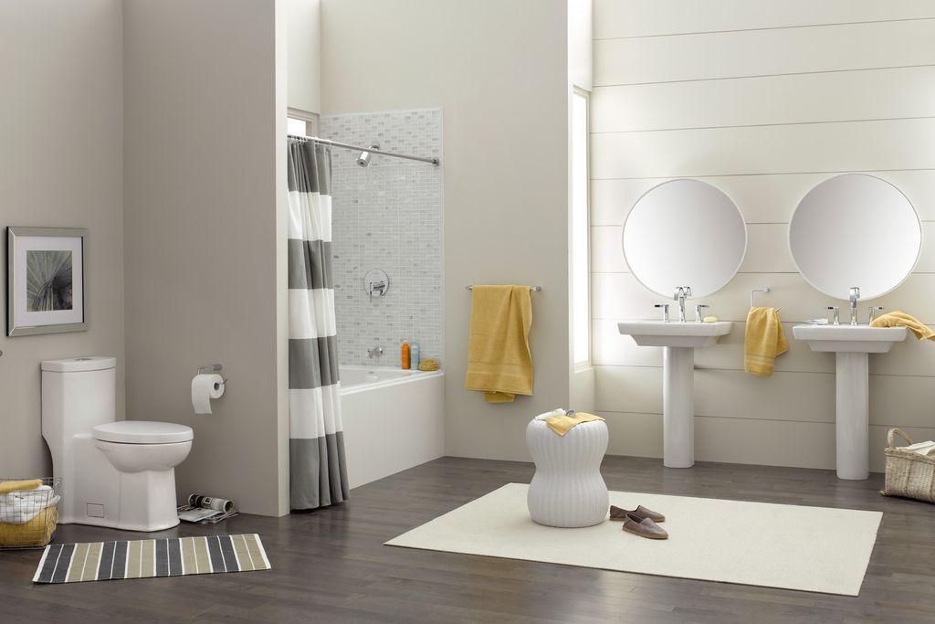 grey and yellow modern bathroom