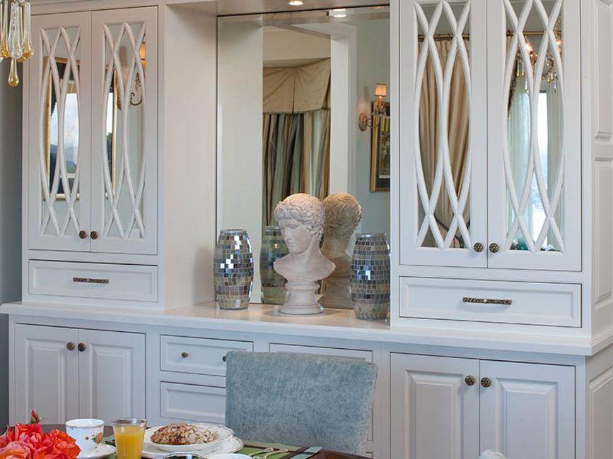 mirrored breakfront in kitchen
