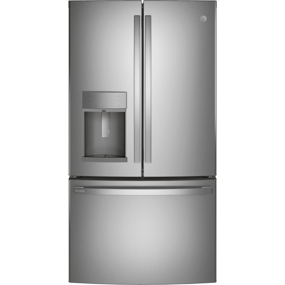 The GE Profile PYE22KYNFS 22.1 cu. ft. French Door Refrigerator with Autofill is a counter-depth model with a dispenser.