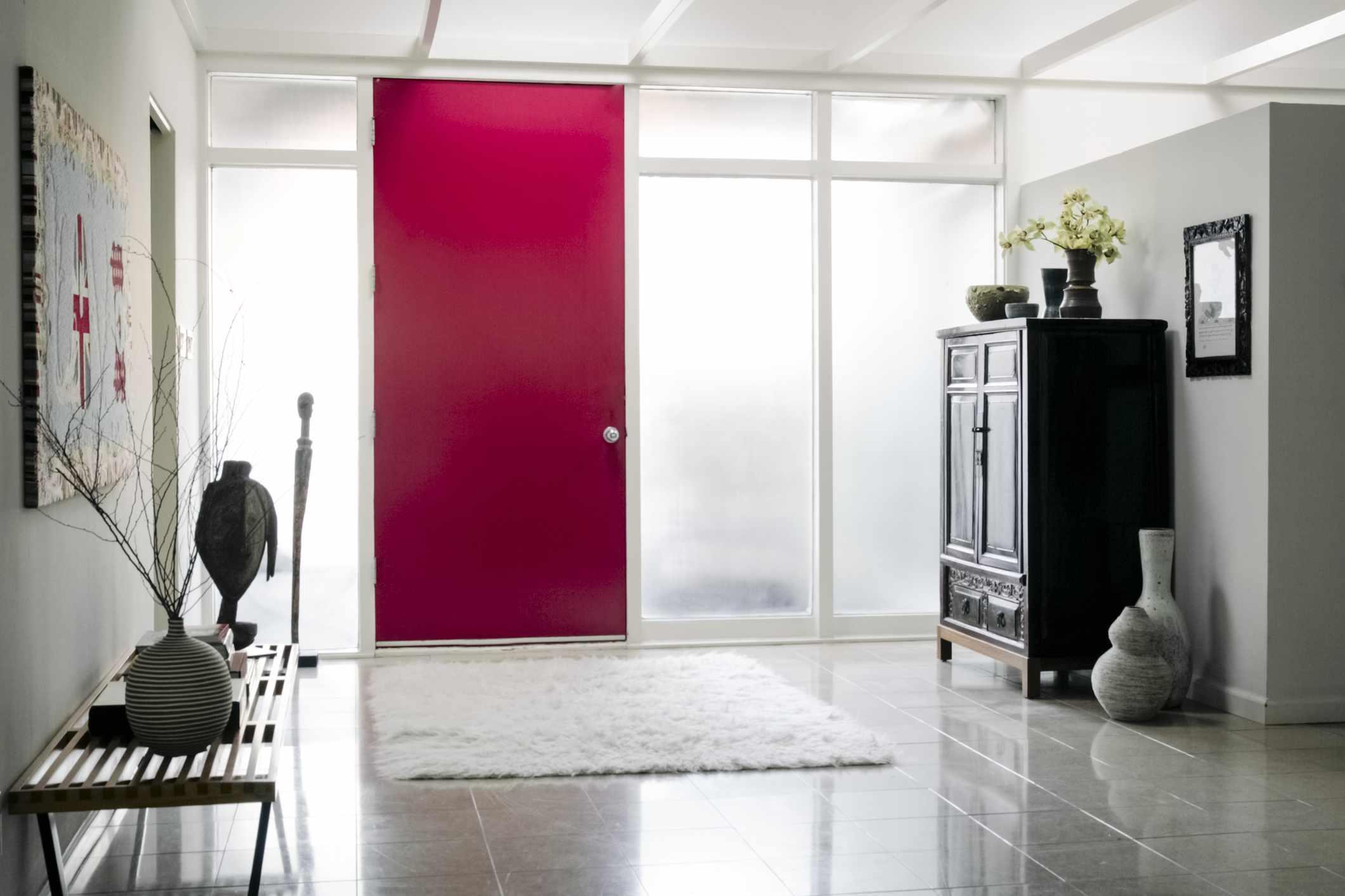Red door in foyer