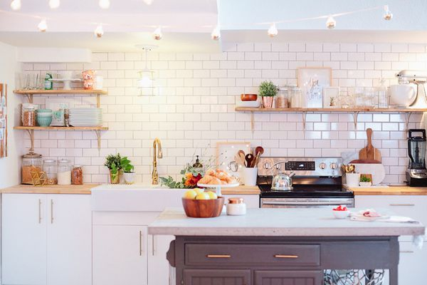 kitchen with cafe lights strung