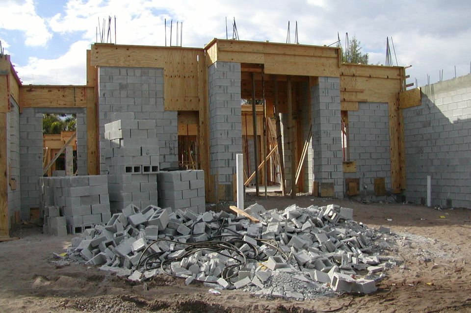 House under construction with concrete block and timber in Delray Beach, Florida