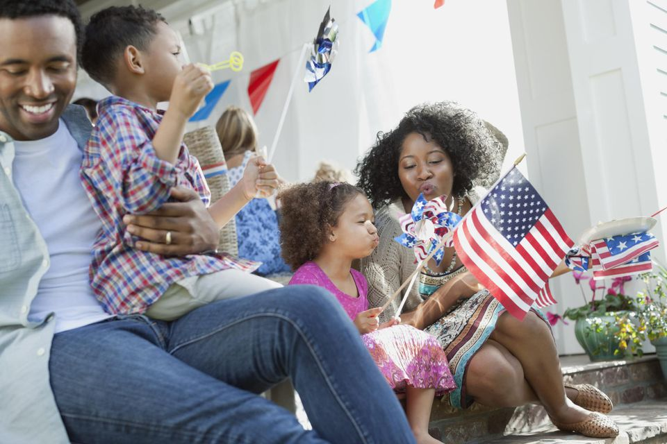 Happy family with American Flag Decorations