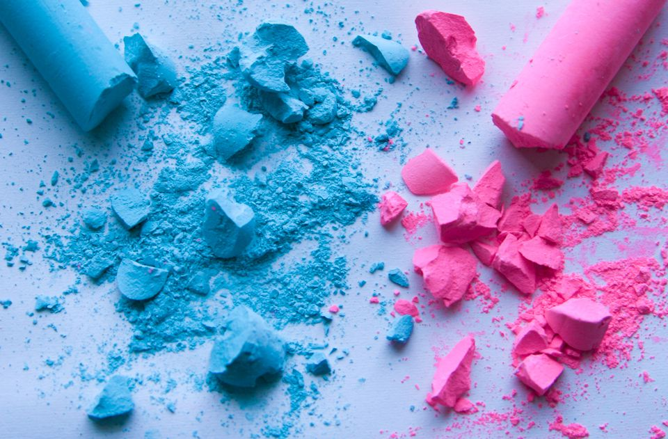 Pink and blue chalk