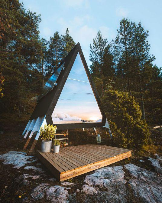Una casa de marco en las montañas