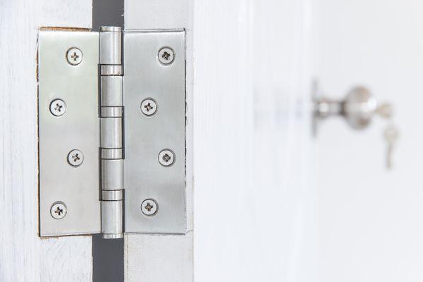 Silver door hinge on a white door.