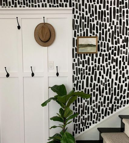 Staircase with black and white design