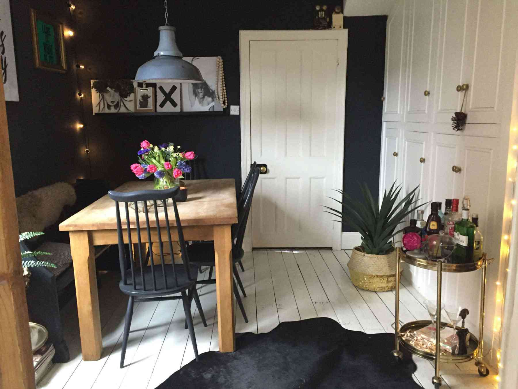 Black detailed dining room
