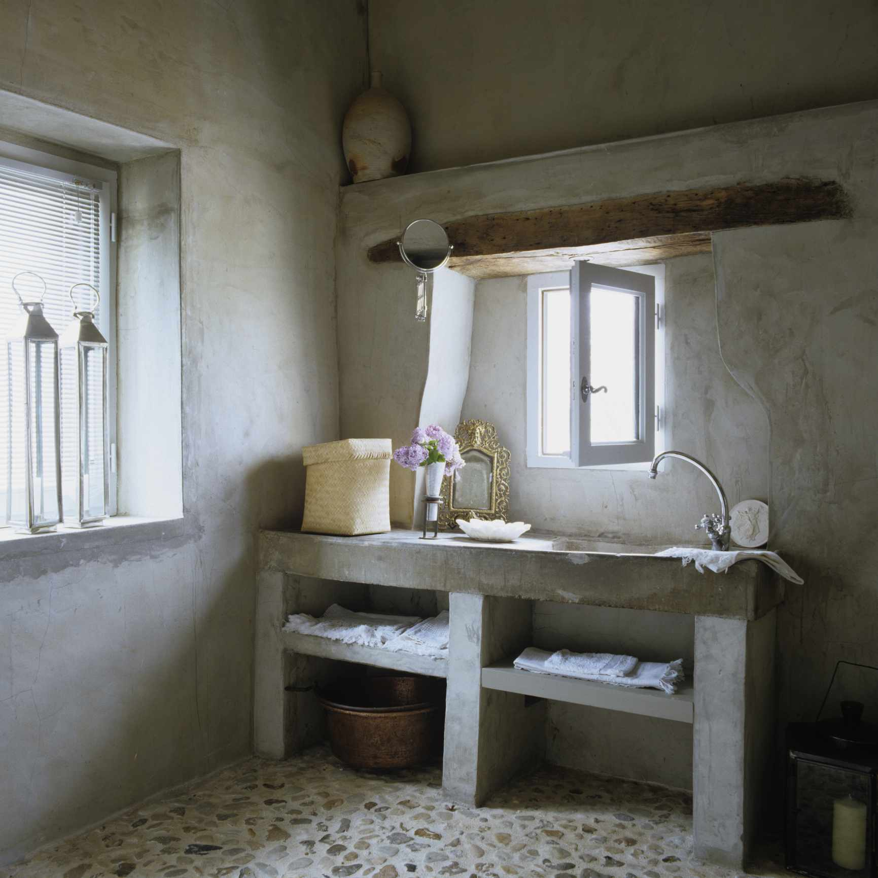 Renovated 17th century French barn bathroom