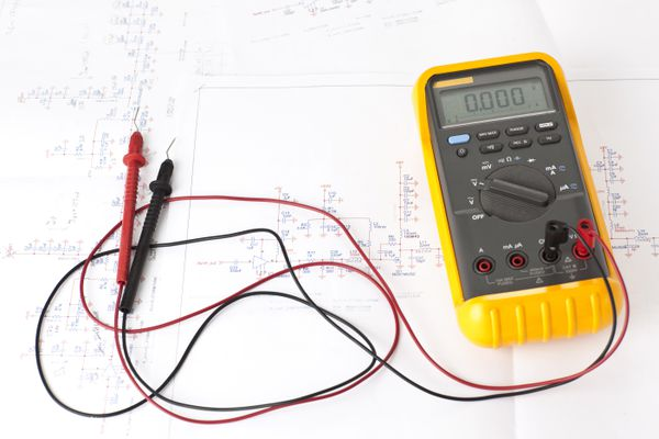 Multitester tool on electronic scheme diagram.