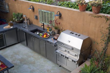 Consider Utilities When Planning Your Outdoor Kitchen on outdoor gas fireplaces, outdoor gas storage, outdoor gas heating, outdoor gas lighting, stainless steel kitchens,