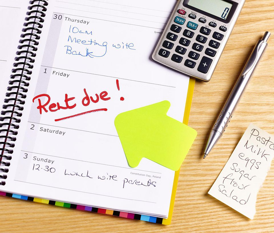 Rent due deadline in diary