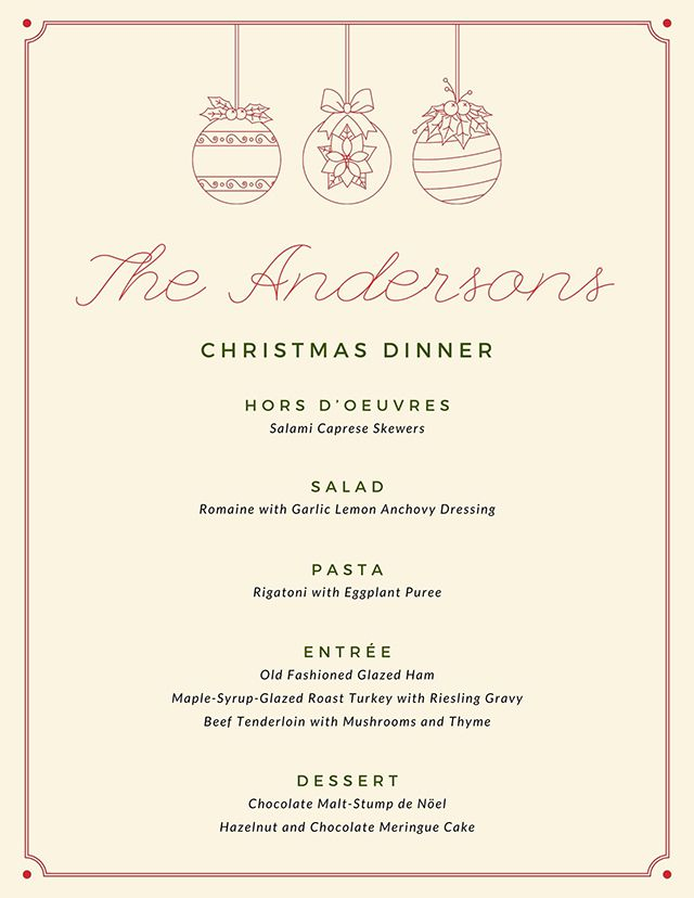 A red and green Christmas menu