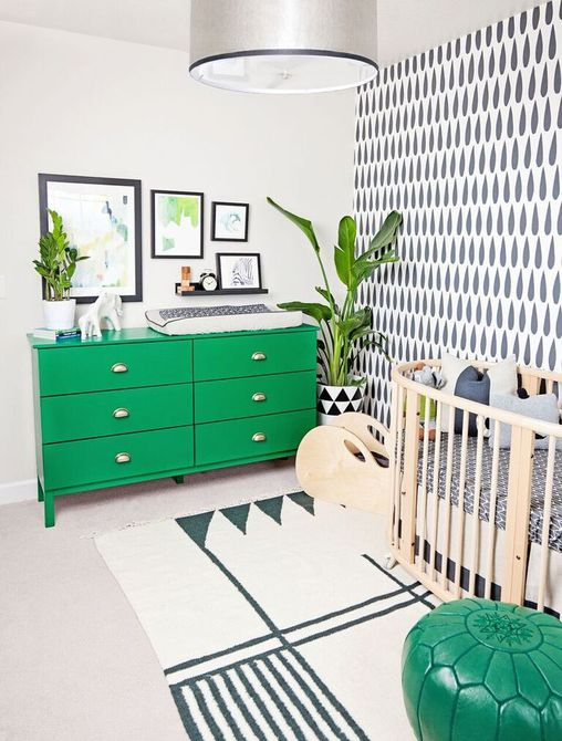 Modern graphic black and white nursery with colorful pops of Kelly Green