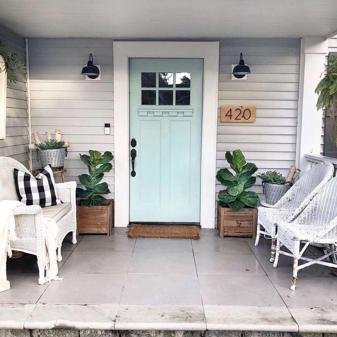 Blue craftsman front door