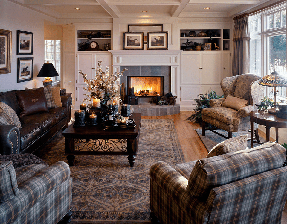 Living room with plaid and leather furniture