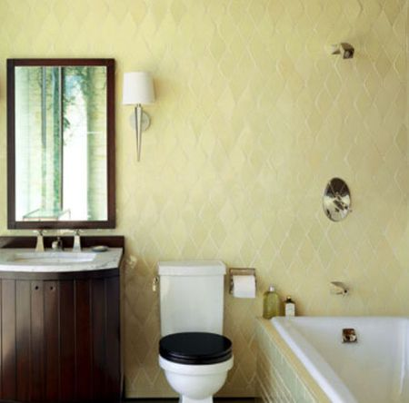Pale Yellow Tile Color In Bathroom With Dark Wood Cabinets. Use These Bathroom Decorating Ideas For Your Home