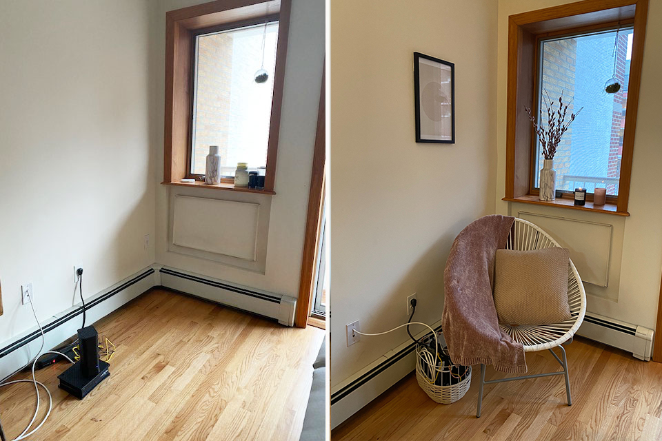 Before and after corner