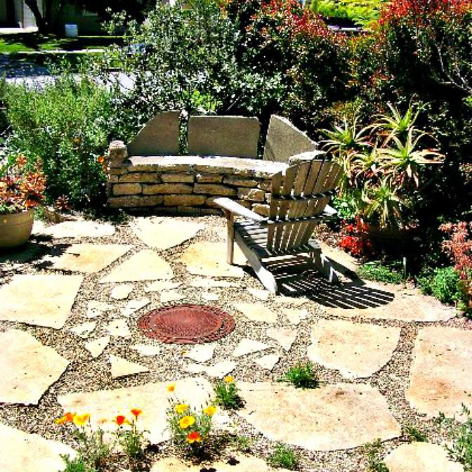 flagstone patio in a backyard