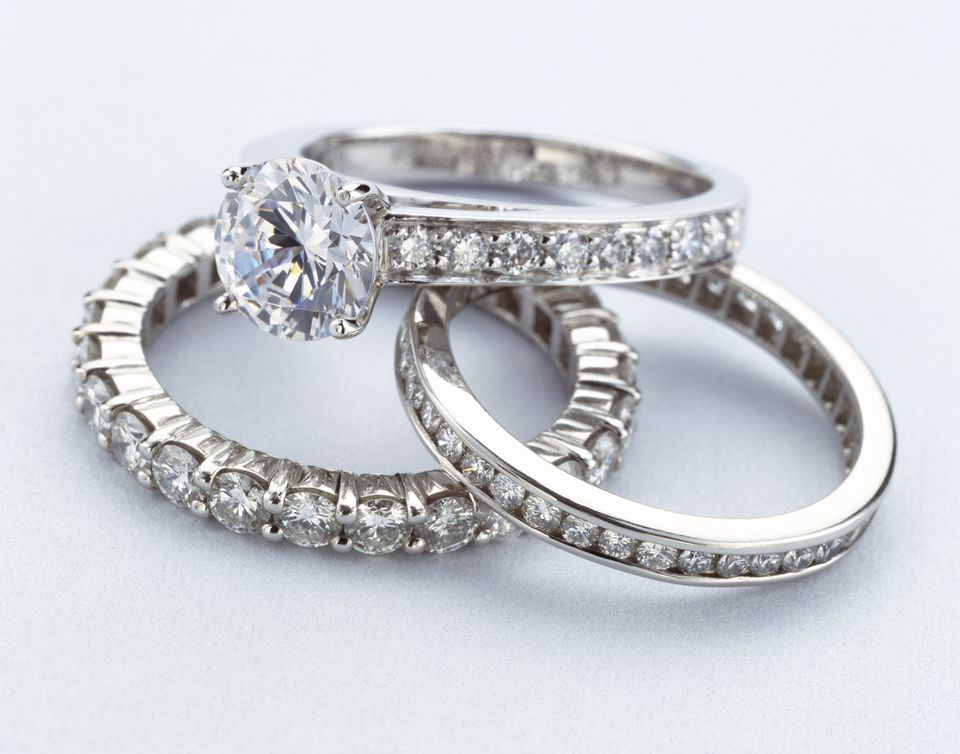 Women's pave diamond rings and bezel set band