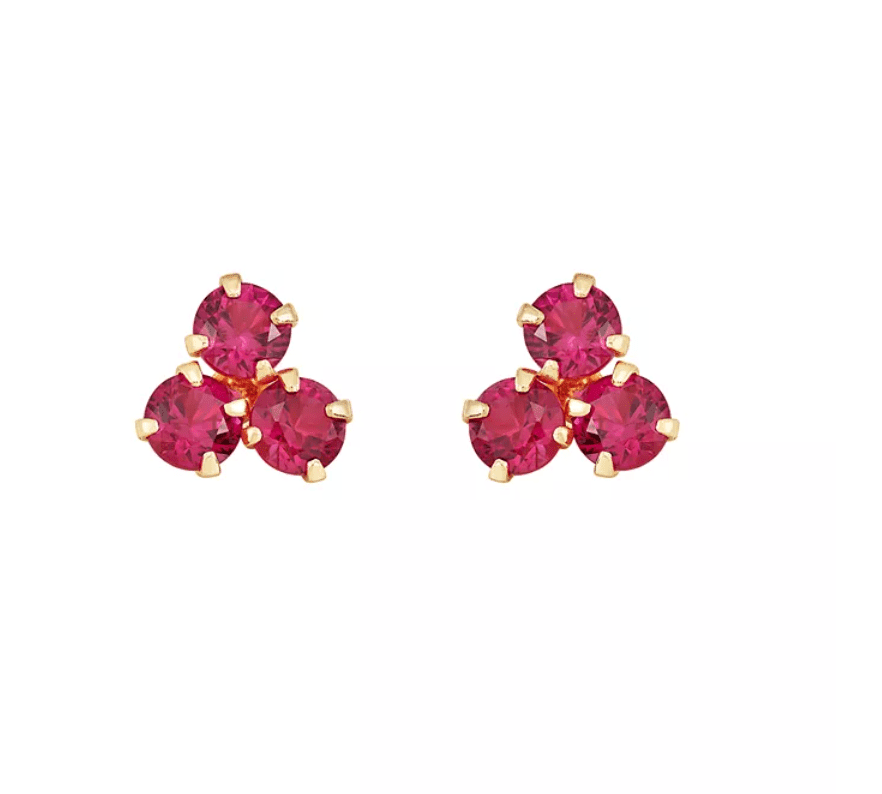 Certified Ruby (3/4 ct. t.w.) Button Stud in 10k Yellow Gold