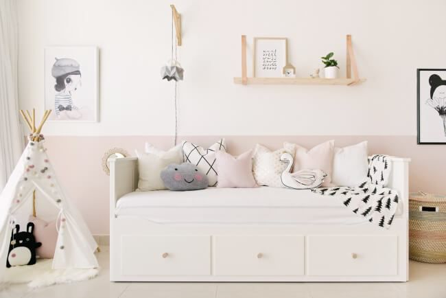 Pink and white girl's room with Nordic charm