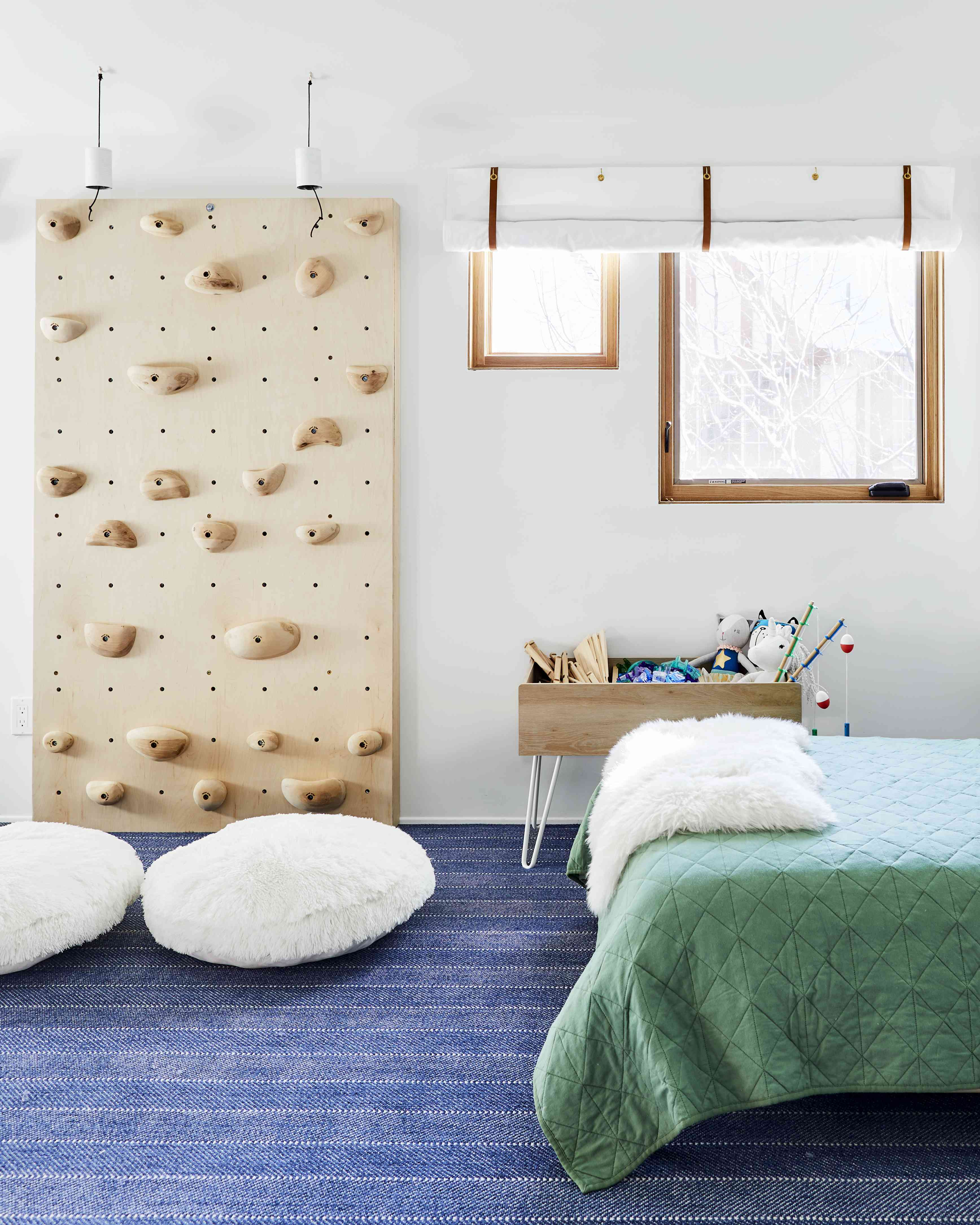 kid's room with a climbing wall