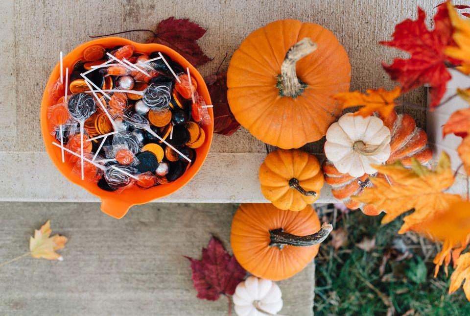 Halloween candy on a door step