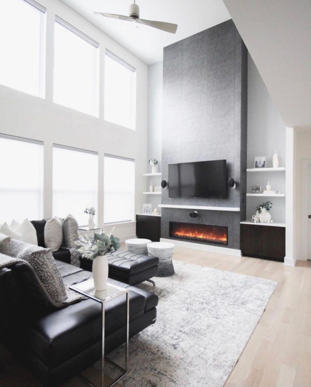 black modern living room