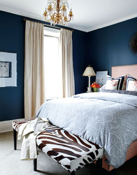 Bedroom With Dark Blue Walls