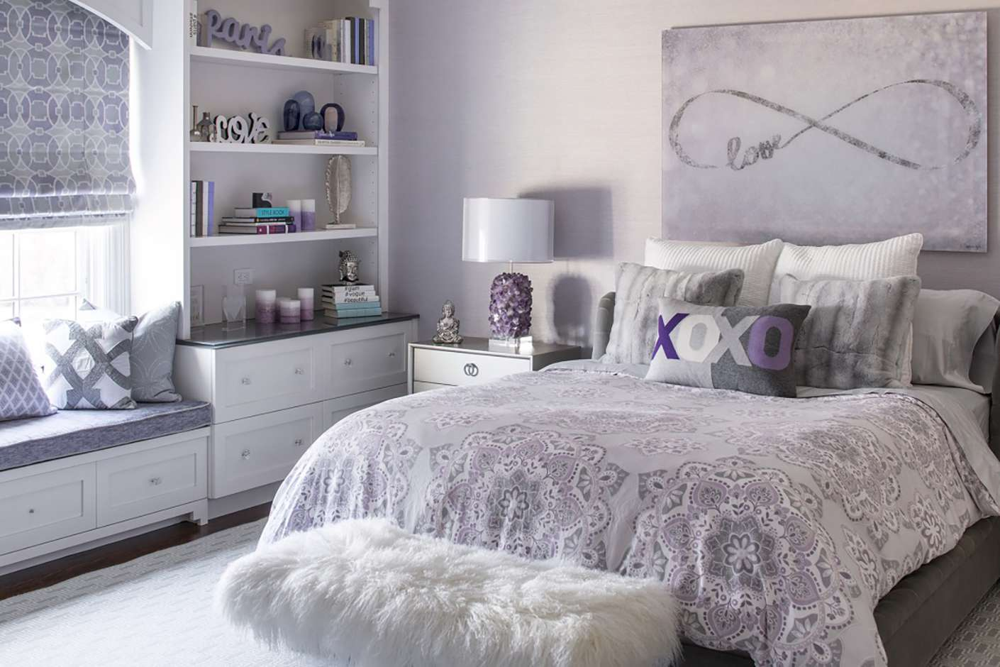 grey teenage girl bedroom