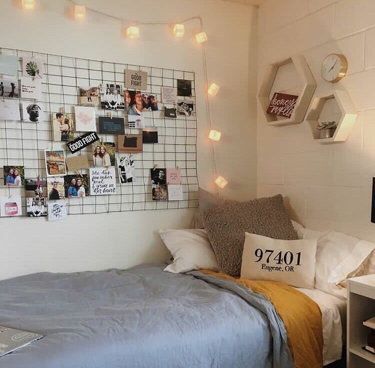 Dorm room with picture wire