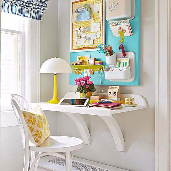 Simple space-saving shelf desk for homework nook