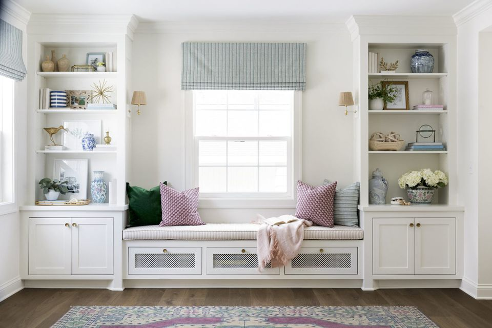 window bench in a traditional white living room