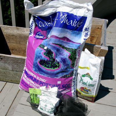 Garden supplies on a deck