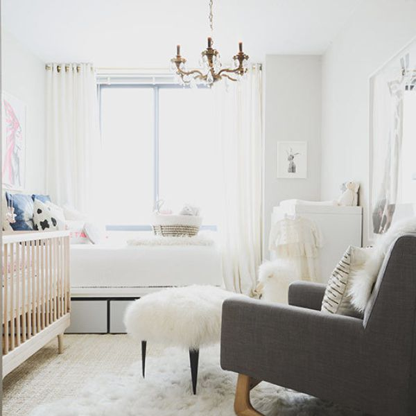 Neutral nursery/guest room space with rich textural accents.
