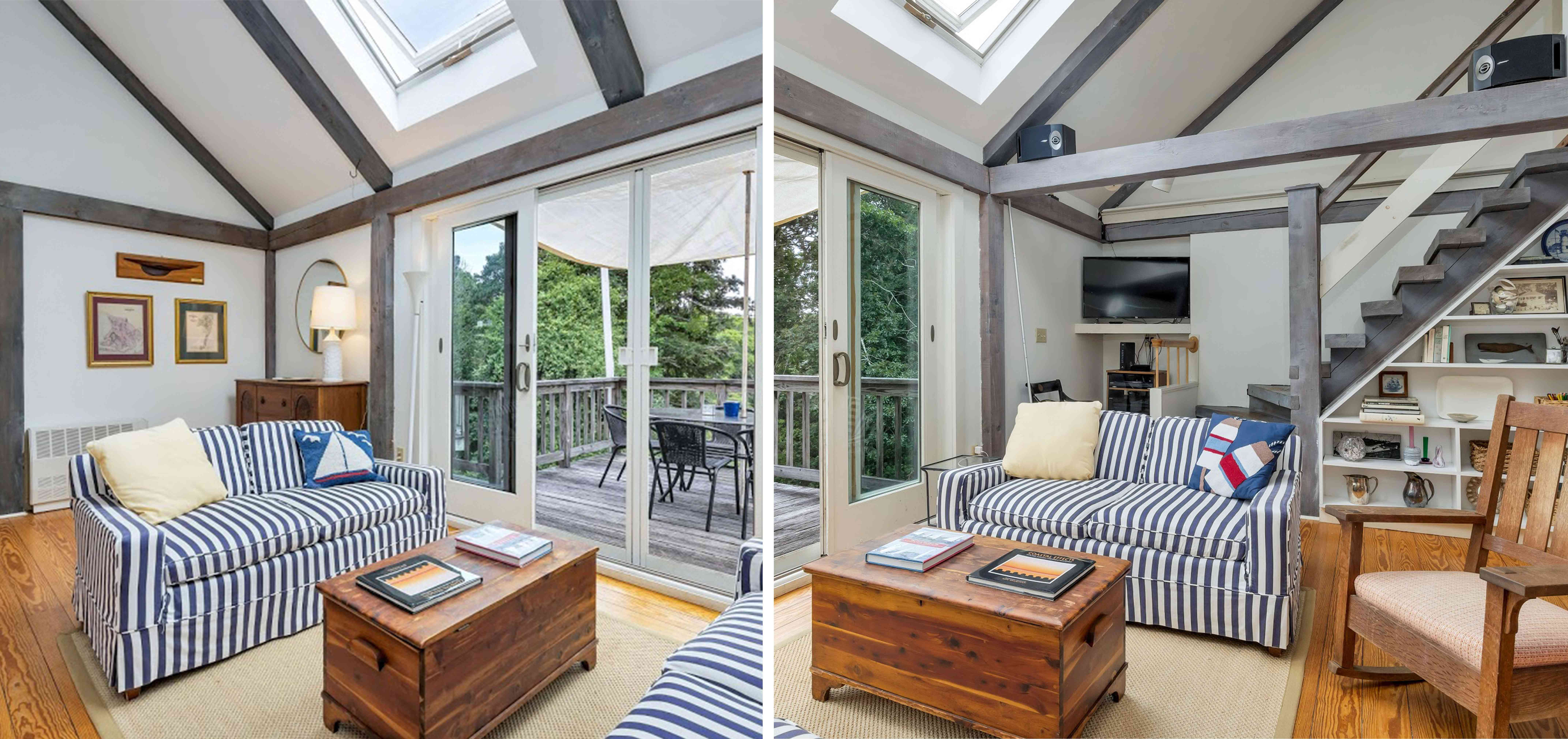The den of the Cape Cod house from two different perspectives of the room