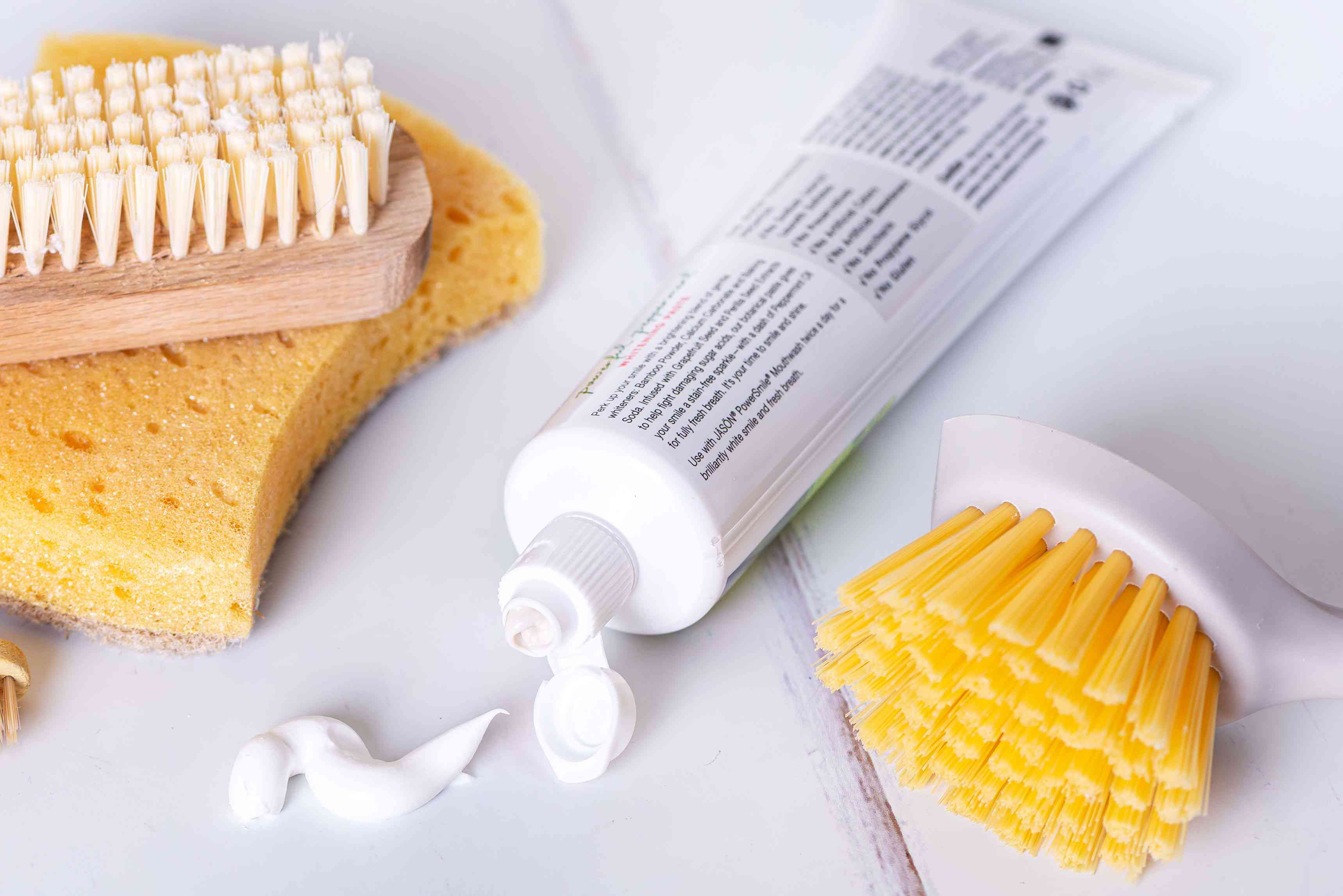 toothpaste and scrub brushes